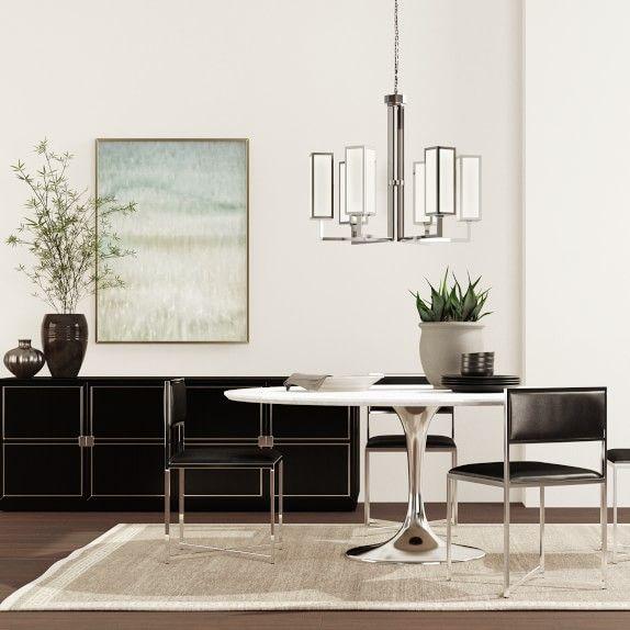 Tulip Pedestal Round Dining Table, Polished Nickel Base | Living .