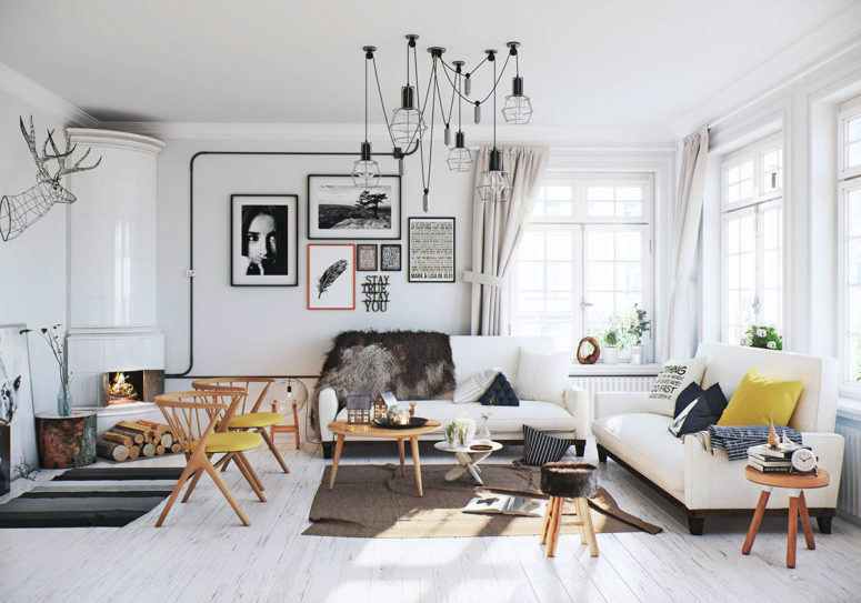 Airy Scandinavian Apartment With Traditional Wood Stoves - DigsDi