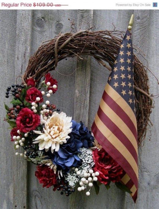 60 Amazing 4th July Wreaths For Your Front Door | Patriotic door .