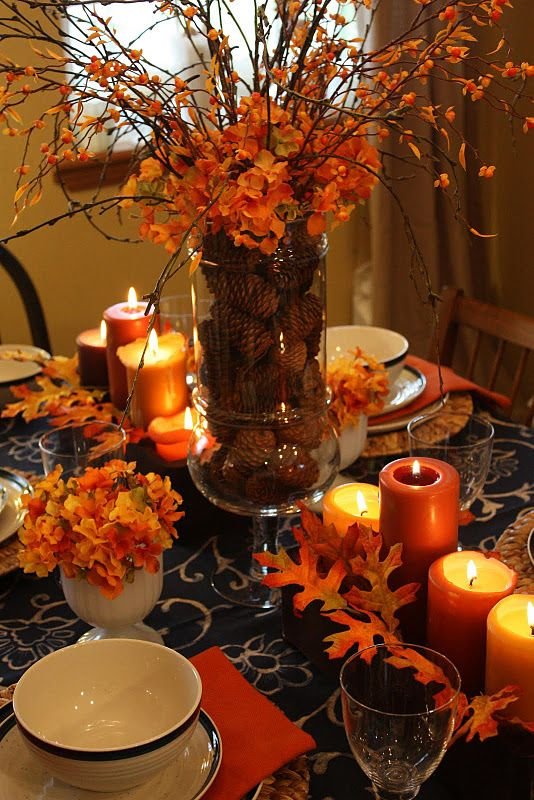 34 Lovely Fall Tablescapes   Fall centerpiece, Fall thanksgiving .