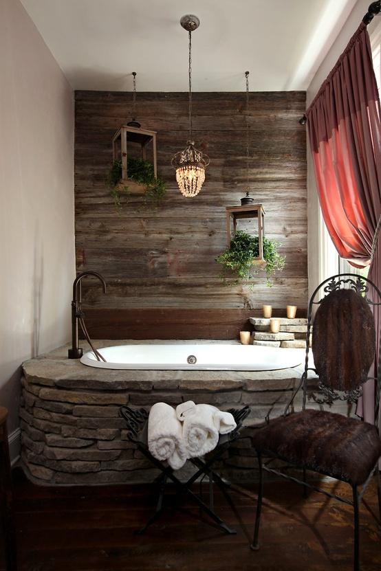 Home Interior Project: Amazing Raw Stone Bathroom Design Ide