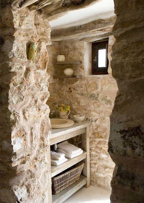 Unique raw stone bathroom... via Design Styles, Decorating Ideas .