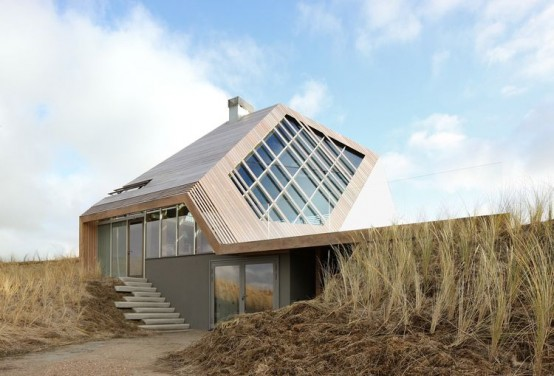 Angular Beach Home That Blends In With The Dunes - DigsDi