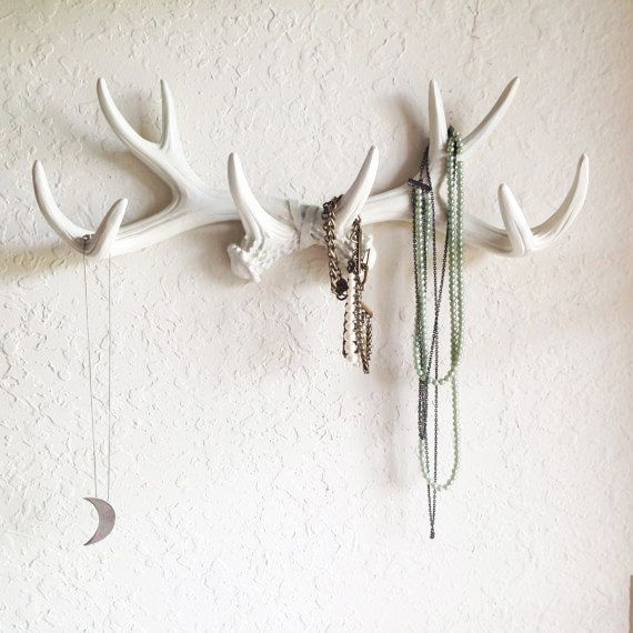 ANY COLOR or WHITE Antler Wall Mount // Rustic Wall Hook // Faux .
