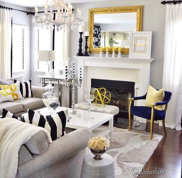 White, black and yellow with touches of navy blue | Apartment .