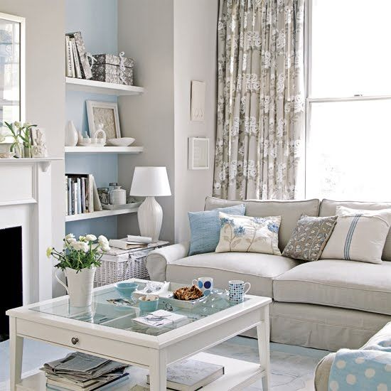 Glamorous Grey with blue touches | Small apartment living ro