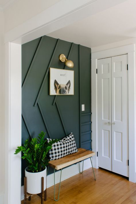 An Entryway Makeover Features a Modern DIY Accent Wall | Small .