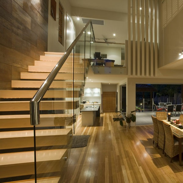 Build Apartment Solid Wood Floating Staircase Desig