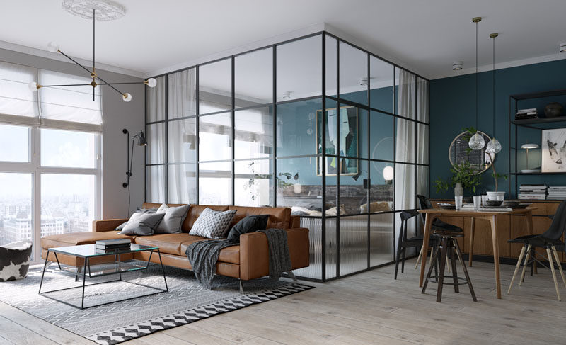 Black Framed Glass Walls Separate The Bedroom In This Kiev Apartme