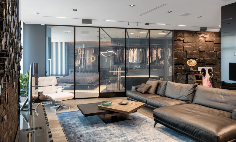This Modern And Masculine Apartment Has A Smart Glass Wall That .