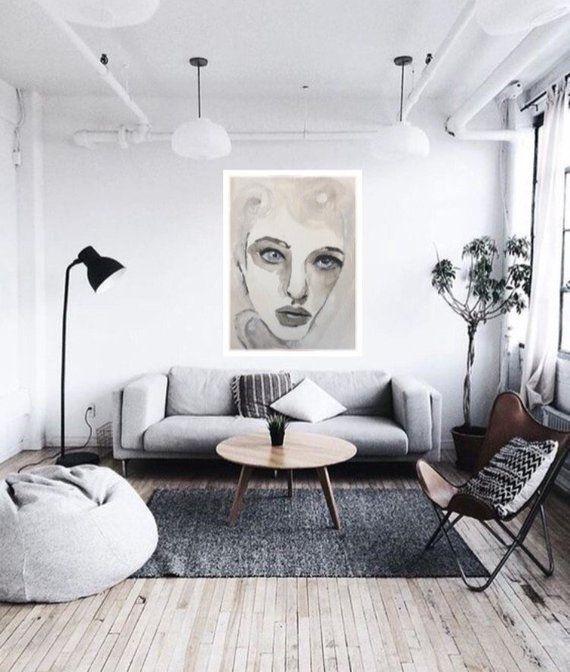 Watercolor Woman Portrait, Gray White Wall Art, Digital Print .