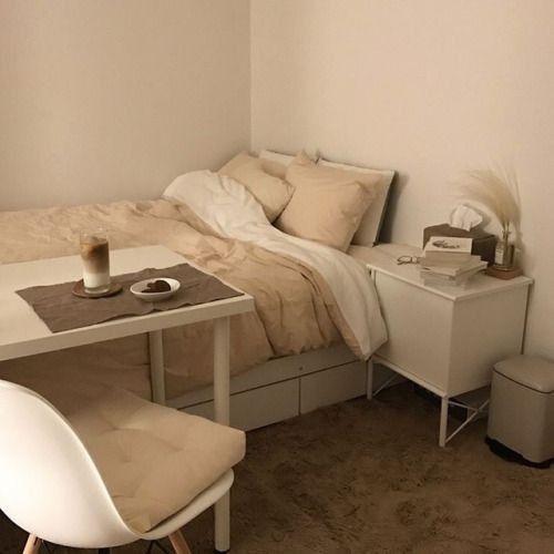 korean bedroom aesthetic room decor seoul beige coffee cream milk .