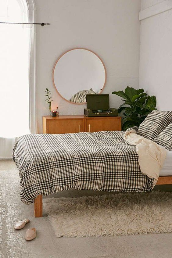 Chic + cozy yarn-dyed gingham duvet cover, woven from 100% cotton .