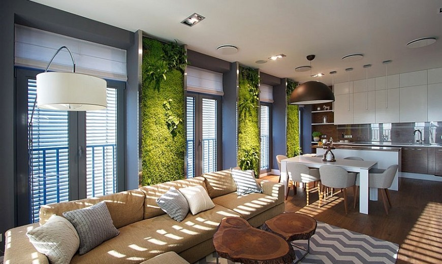 Accent Green Walls For A Stylish Apartme