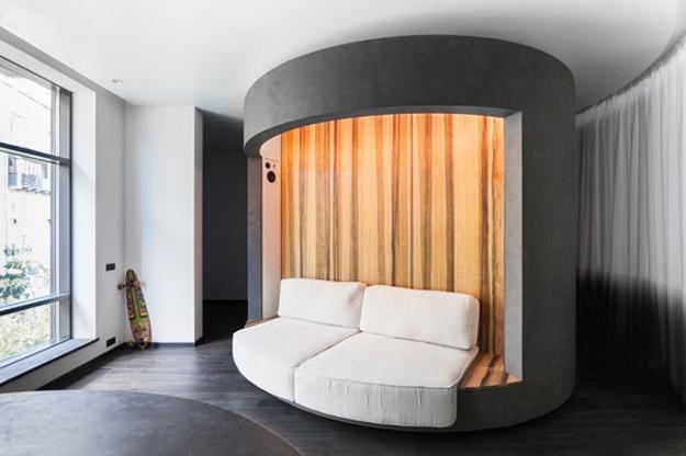 Space Saving, Rotating Bedroom Design, Innovative Small Apartment .