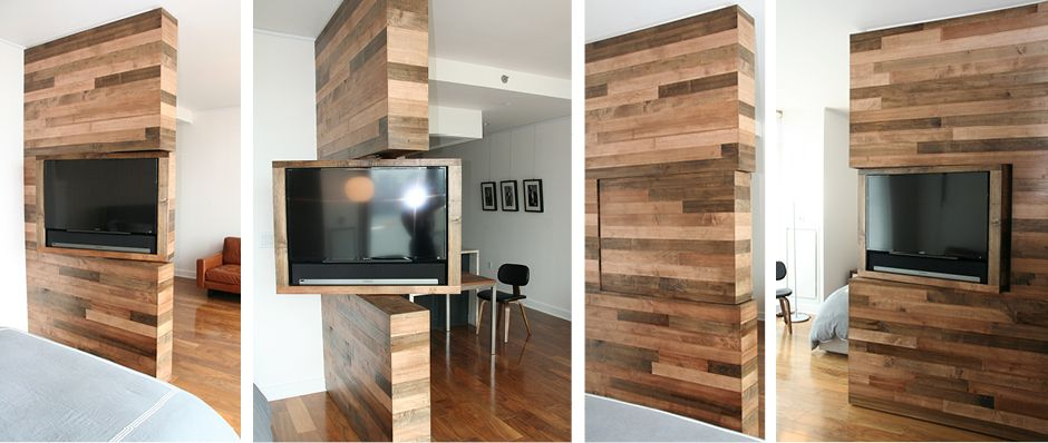 For this studio apartment, we created a feature wood wall with a .