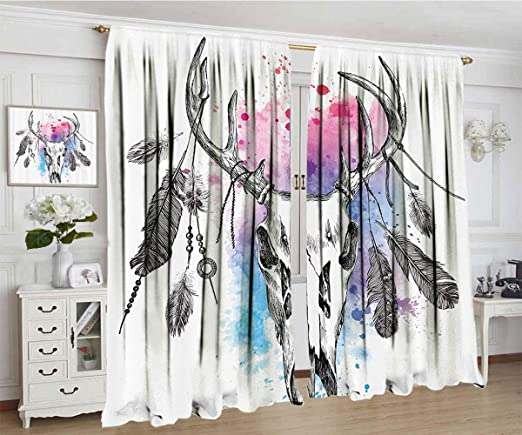 Amazon.com: Apartment Decor Curtain, Deer Skull with Feathers on .