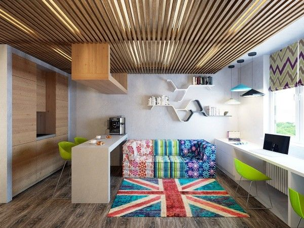 Two Cheerful Apartments with Creative Storage and Splashes of .