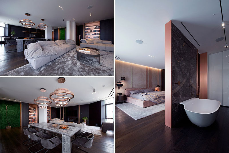 Soft Copper Accents Are Scattered All Over This Apartme