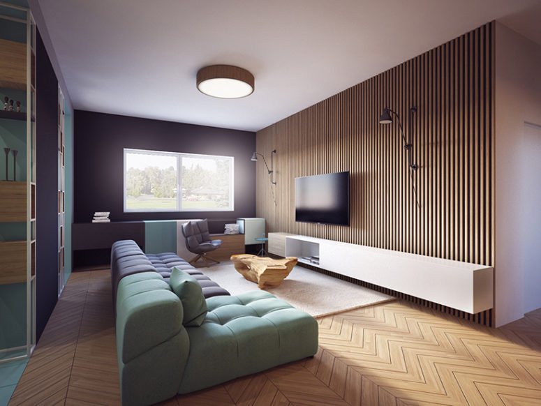 Modern Apartment With Two Zones And Amazing Wood Paneling - DigsDi