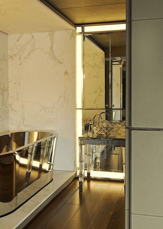 Modern Art Deco Golden Finish Bathroom | Bathroom design .