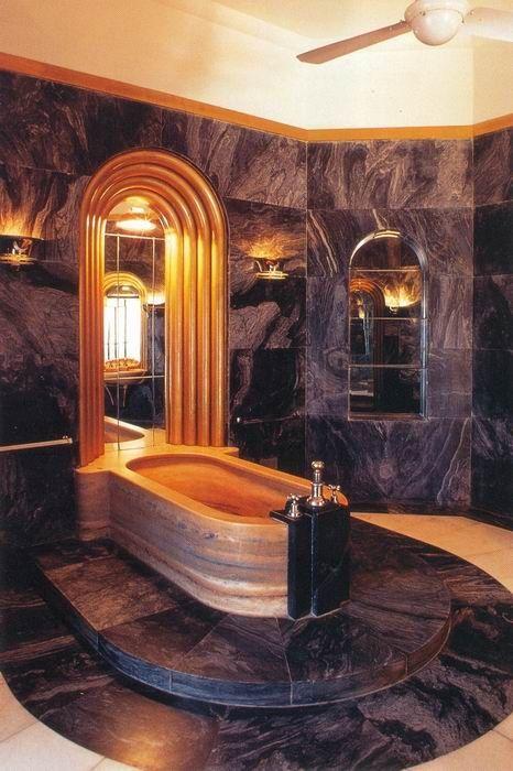 This bathroom is definitely bold! 15 Art Deco Bathroom Designs To .