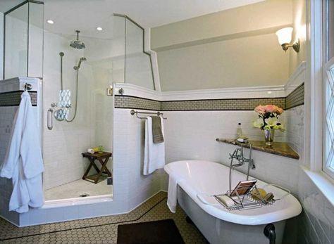Gigantic shower & a claw foot tub! | Home Stuff | Bathroom design .