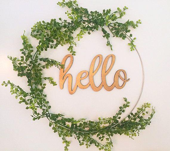 Hello wreath for front door, modern farmhouse decor, living room .
