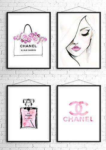 8.5x11 Set of 4 Coco Chanel Logo Splash Black Watercolor ... http .