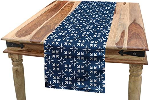 Amazon.com: Ambesonne Indigo Table Runner, Modern Design Floral .