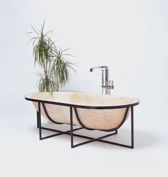 Asian Boat-Inspired Bathtubs Made Of Pressed Woven Veneer - DigsDi