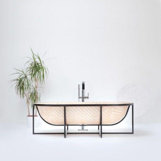 Asian Boat-Inspired Bathtubs Made Of Pressed Woven Veneer   Wood .