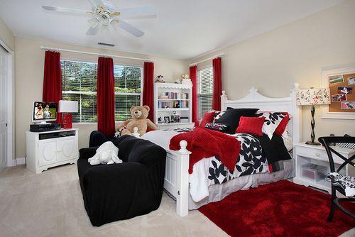 Prentice Cottage White Wood Glass Bedroom Set | Red bedroom decor .