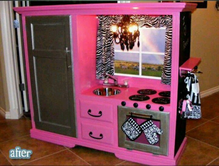 Repurposed tv cabinet!!   Diy play kitchen, Kids kitchen, Old .