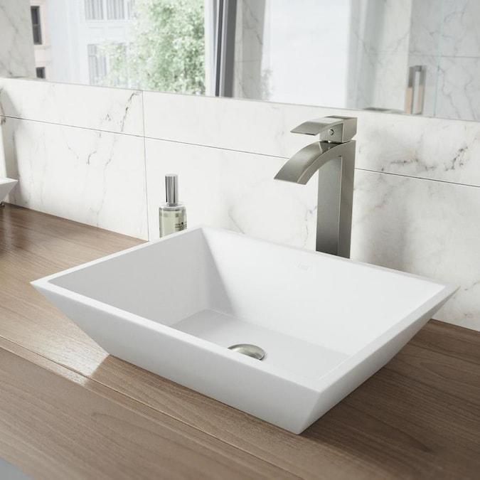 VIGO Vinca Matte White Stone Vessel Rectangular Bathroom Sink (18 .