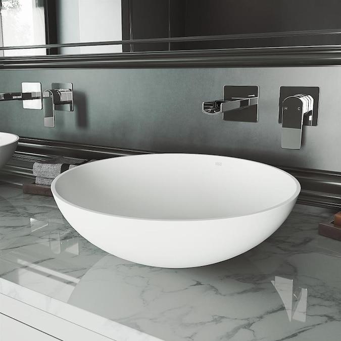 VIGO Vessel sinks Matte White Matte Stone Vessel Round Bathroom .