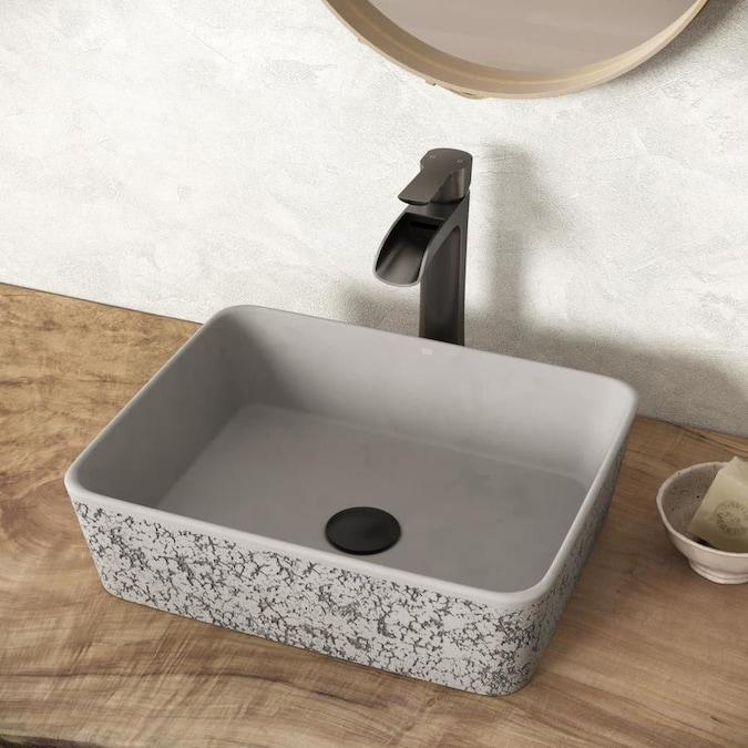 VIGO Zinnia Ash Concrete Vessel Rectangular Bathroom Sink (17.75 .