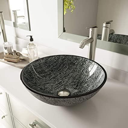 VIGO VG07050 Titanium Glass Vessel Bathroom Sink, Black And Silver .
