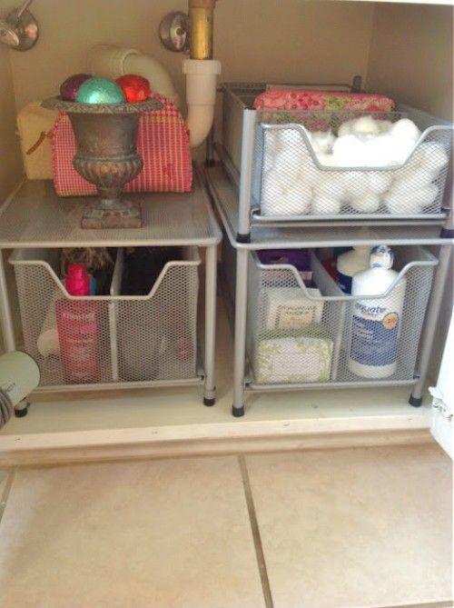 15 Ways to Organize Under the Bathroom Sink | Dorm room storage .