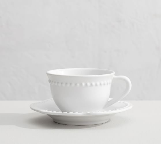 Emma Beaded Stoneware Cup and Saucer Sets | Pottery Ba