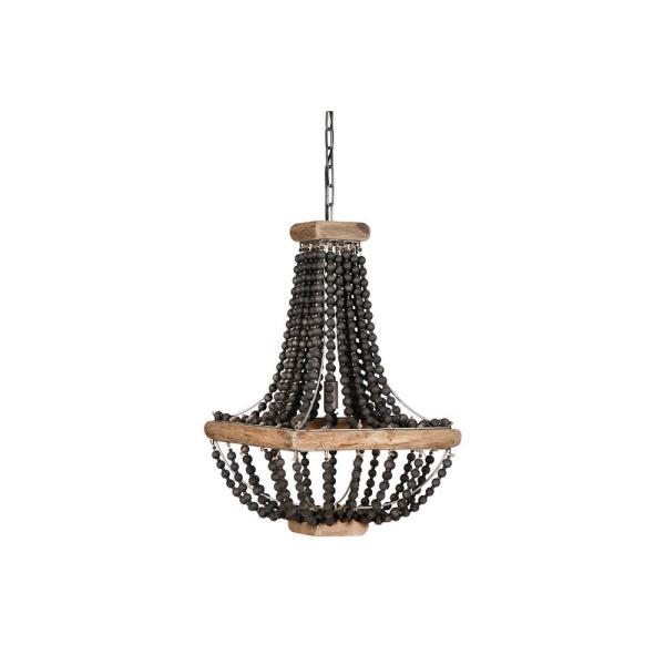 3R Studios 1-Light Black Wood Beaded Hanging Pendant Light-EC0162 .