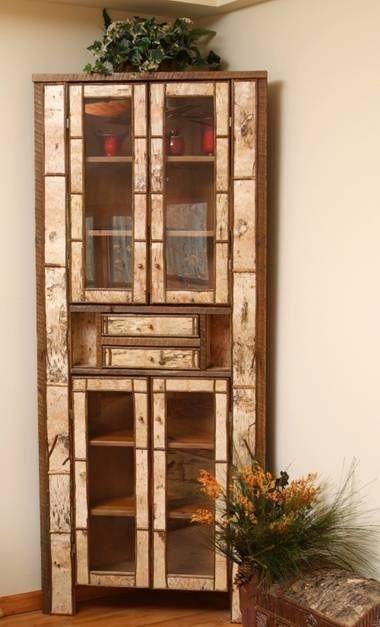 Birch Bark Corner Cabinet - Item # CP00706 - Custom Layouts .