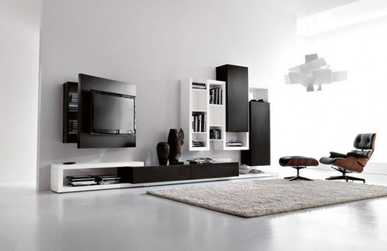 Black-and-white-living-room-furniture-with-functional-tv-stand .