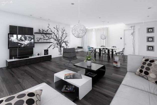 20 Wonderful Black and White Contemporary Living Room Desig