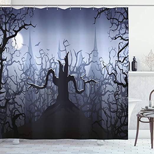 Amazon.com: Halloween Decorations Shower Curtain by Ambesonne .