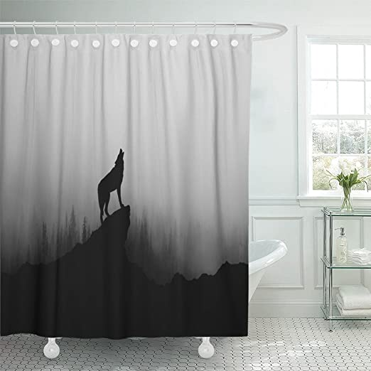 Amazon.com: Emvency Shower Curtain Waterproof Black Werewolf Wolf .