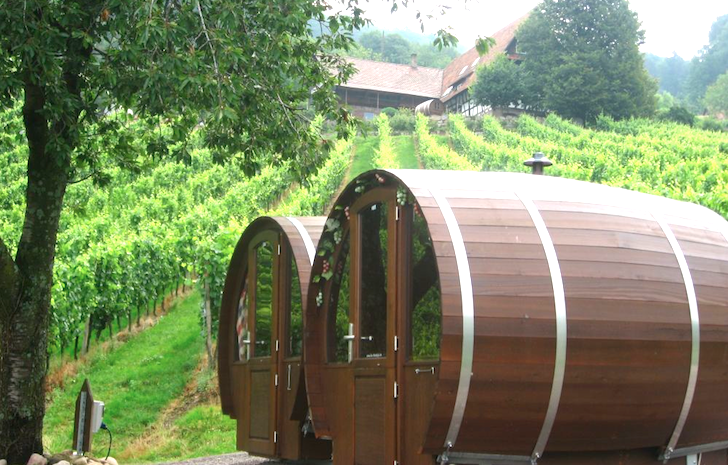 Giant Wine Barrel Room Overlooks the Black Forest in Germany .