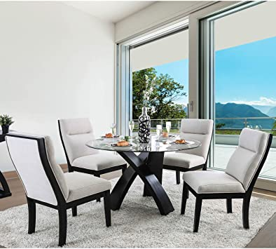 Amazon.com - Contemporary Round 52-inch Dining Table - Black Lake .