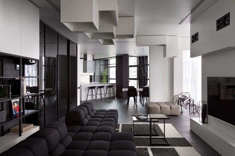Spacious and Beautiful Modern Black and White Apartment in Ukraine .