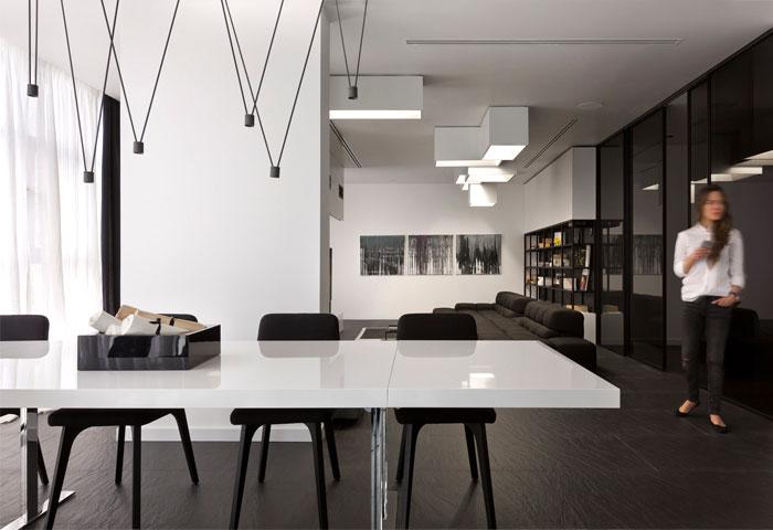 Trendy Black and White Apartment by Lera Katasonova Design .